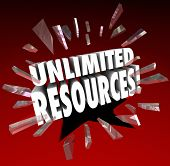 Unlimited Resources 3d words breaking through red glass to illustrate vast wealth and endless amounts of money to fund your enterprise, project or venture poster