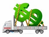 Big sign of money in back of truck. Qualitative vector illustration for banking financial industry money economy accounting etc. It has transparency blending modes gradients poster