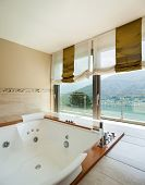 Interior of  luxury apartment, comfortable bathroom with  poster