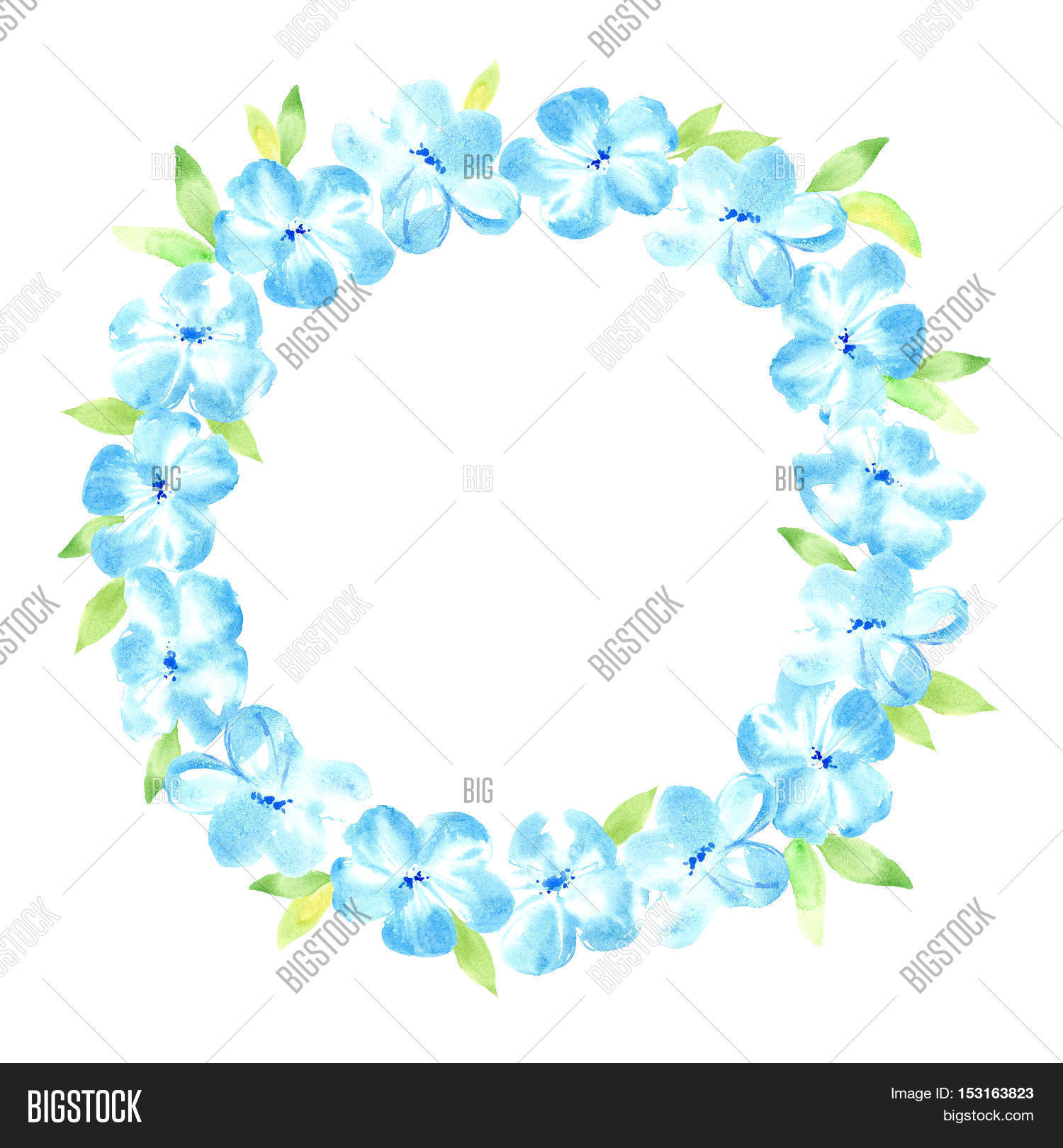 Floral wreathrland image photo free trial bigstock floral wreathrland with blue flower and leavesherbal circle framewatercolor hand izmirmasajfo