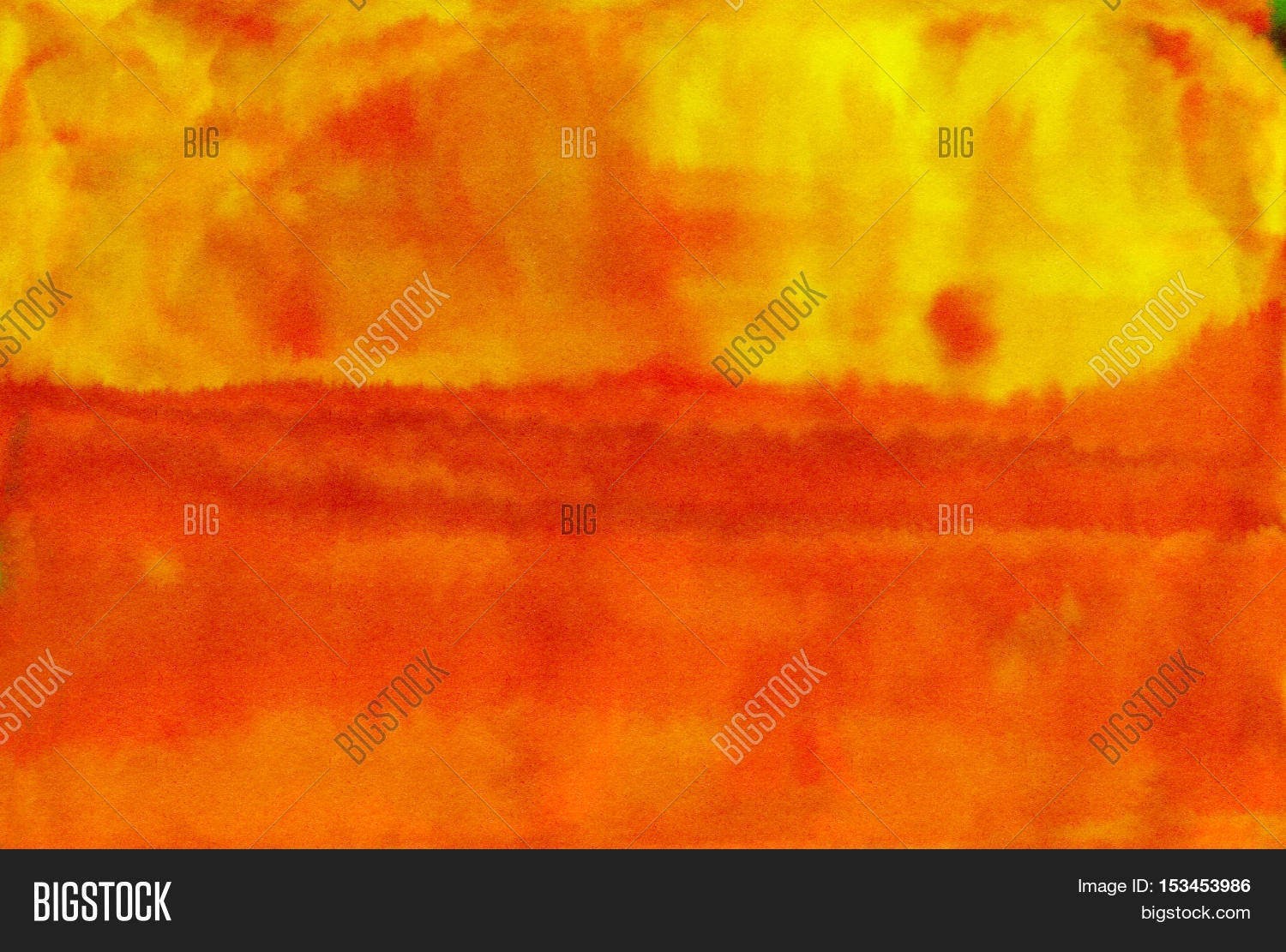 Abstract Orange Watercolor Art Drawing For Modern Wool Carpet Design Red And Yellow Watercolour Wet
