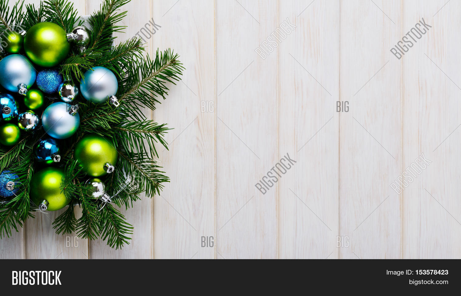 Christmas Background With Green And Blue Ornaments Party Decoration Greeting