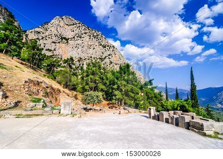 Delphi Greece. Amphitheater an archaeological Greek site at the Mount Parnassus. Delphi is famous by the oracle at the sanctuary dedicated to Apollo. UNESCO World heritage