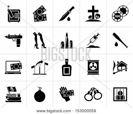 Black Mafia, Gangster and organized criminality activity icons - vector icon set