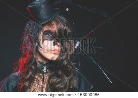 Fashion girls celebrating Halloween 2016. Haloween costumes. Masquerade party