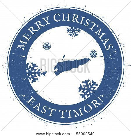 Timor-leste Map. Vintage Merry Christmas Timor-leste Stamp. Stylised Rubber Stamp With County Map An