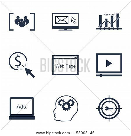 Set Of Seo Icons On Questionnaire, Brain Process And Keyword Marketing Topics. Editable Vector Illus