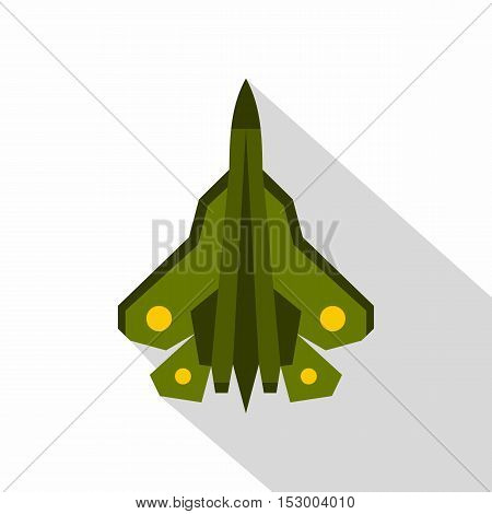 Military fighter plane icon. Flat illustration of military plane vector icon for web
