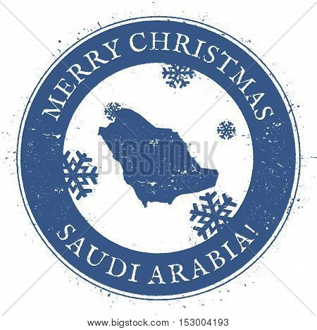 Saudi Arabia Map. Vintage Merry Christmas Saudi Arabia Stamp. Stylised Rubber Stamp With County Map