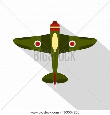 Military plane icon. Flat illustration of military fighter plane vector icon for web