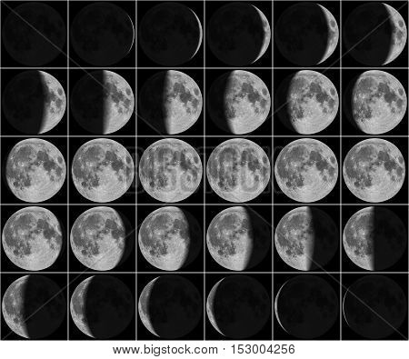 Moon 30 day phases photo, isolated on black background