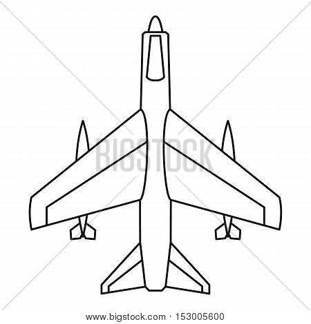 Armed fighter jet icon. Outline illustration of armed fighter jet vector icon for web