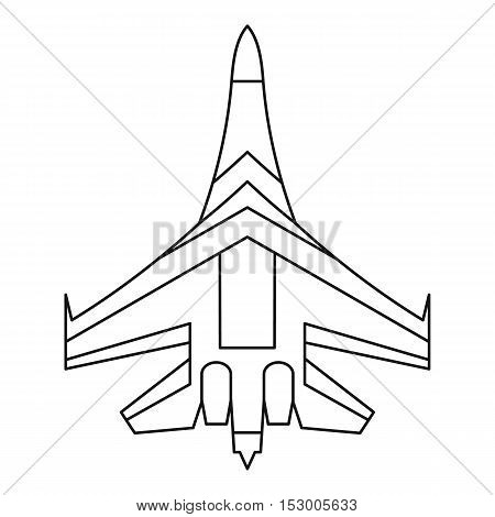 Jet fighter plane icon. Outline illustration of fighter plane vector icon for web