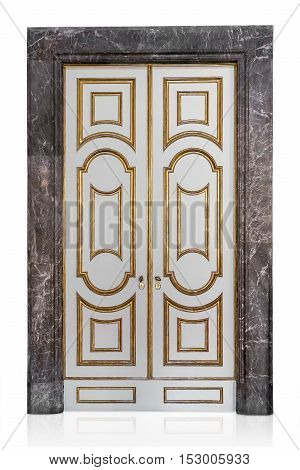 Decorative vintage doors isolated on white background with clipping path