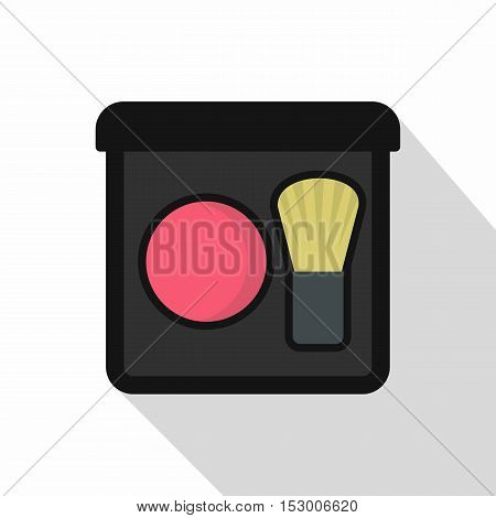 Pink blush with a brush icon. Flat illustration of pink blush with a brush vector icon for web