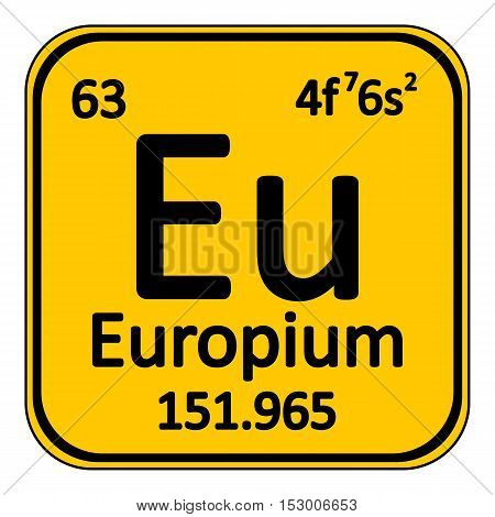 Periodic table element europium icon on white background. Vector illustration.