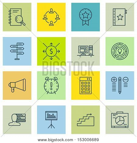 Set Of Project Management Icons On Opportunity, Present Badge And Decision Making Topics. Editable V