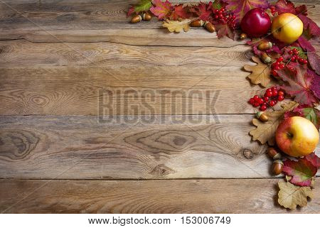 Border of apples acorns red berries and fall leaves on the old wooden background. Thanksgiving background with seasonal berries and fruits. Abundant harvest concept.