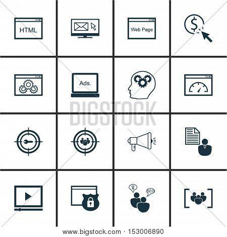Set Of Seo Icons On Seo Brainstorm, Ppc And Digital Media Topics. Editable Vector Illustration. Incl