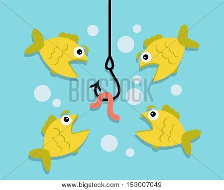 underwater hanging hook, hanging on a hook worm. Four fish looking at a worm and want to eat it