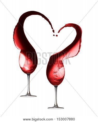 Red wine heart splash with two wineglasses isolated on white background.