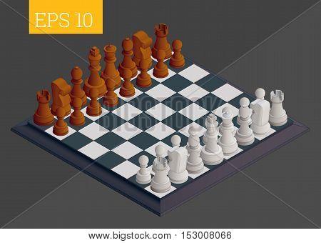 Chessboard Isometric Vector Illustration