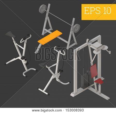 Gym Equipment Isometric Vector Illustration