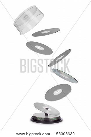 compact disks fly out of the box isolated on white background