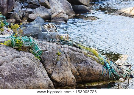Crab Cages In Harbor On Shore