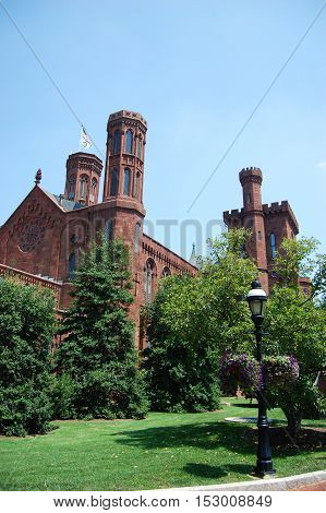 WASHINGTON DC - AUG. 10, 2010: The Victorian facade of the Smithsonian Castle in Washington, District of Columbia, USA.