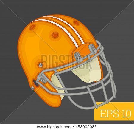 rugby safety helmet eps10 vector illustration. american football headgear.