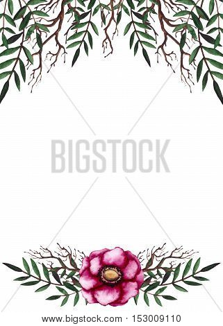 Watercolor Frame with Hand Drawn Pink Flower and Deep Green Leaves