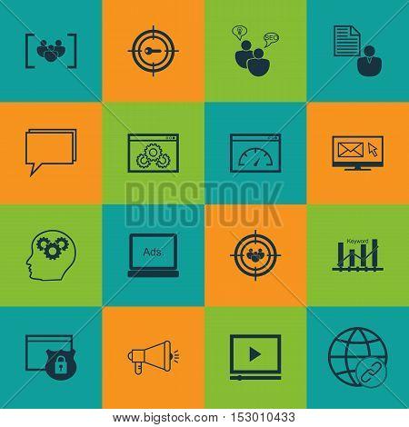 Set Of Advertising Icons On Seo Brainstorm, Media Campaign And Keyword Optimisation Topics. Editable