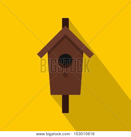 Birdhouse or nesting box icon. Flat illustration of birdhouse or nesting boxvector icon for web isolated on yellow background