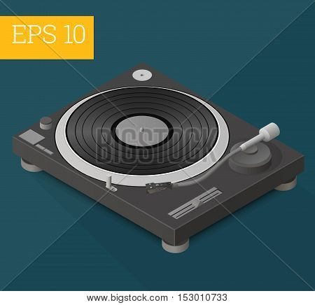 dj turntable eps10 vector illustration. deejaying gadget