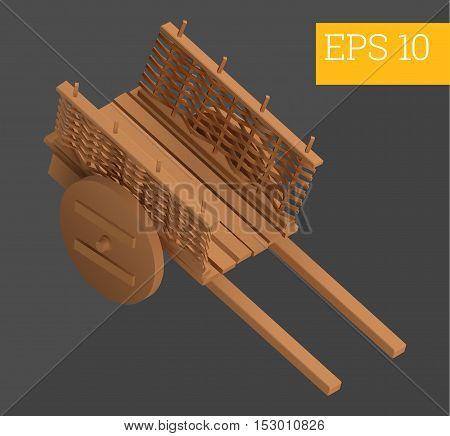 wooden hand-barrow wagon eps10 vector illustration. wheelbarrow