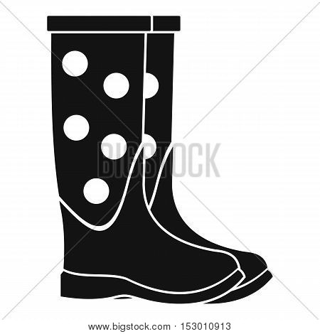 Rubber boots icon. Simple illustration of dotted rubber dotted boots vector icon for web