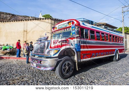 ANTIGUA GUATEMALA - JULY 31: A typical Guatemalan Chicken Bus in Antigua Guatemala on July 31 2015. Chicken Bus It's a name for colorful modified and decorated bus in various Latin American countries