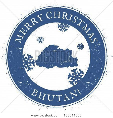 Bhutan Map. Vintage Merry Christmas Bhutan Stamp. Stylised Rubber Stamp With County Map And Merry Ch