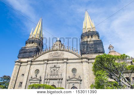 GUADALAJARA MEXICO - AUG 29 : The Guadalajara Cathedral in Guadalajara Mexico. on August 29 2016. The cathedral was built in 1541