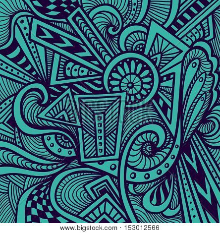 Abstract pattern  in  Zen tangle or Zen doodle style  in dark blue for wallpaper or  for packed something or for clothes or for cosmetic perfume or for web or for  techno background