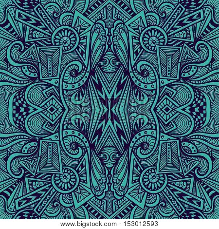 Abstract seamless pattern  in  Zen tangle or Zen doodle style  in dark blue for wallpaper or  for packed something or for clothes or for cosmetic perfume or for web or for  techno background