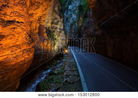 Strada della Forra Scenic road at caves leading from Tremosine to Pieve poster