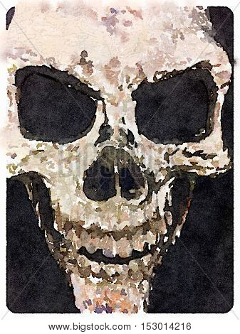 Digital watercolor painting of a skull with a black background.