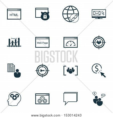 Set Of Advertising Icons On Newsletter, Focus Group And Seo Brainstorm Topics. Editable Vector Illus