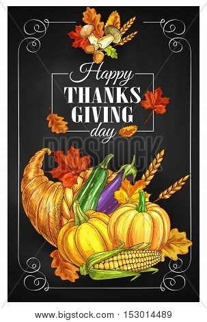 Thanksgiving Day greeting banner or posters. Traditional design of food abundance. Thanksgiving cornucopia with plenty of food. Family celebration dinner meal with autumn harvest