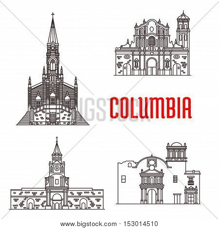 Icons of Columbian famous buildings. Cathedral of Our Lady Carmen, Popayan Santo Domingo Cathedral, Cartagena Town Hall, Ermita Church. Historic architecture vector elements for souvenirs, postcard