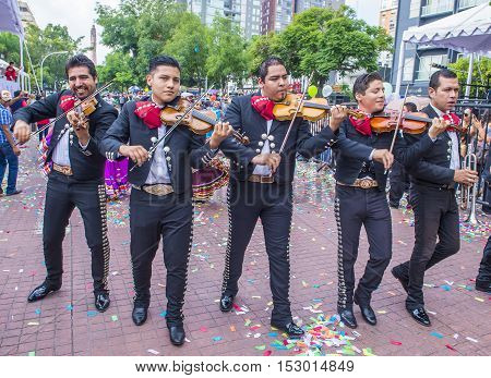 GUADALAJARA MEXICO - AUG 28 : Participants in a parde during the 23rd International Mariachi & Charros festival in Guadalajara Mexico on August 28 2016.