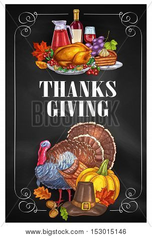 Thanksgiving Day greeting holiday banners and posters with copyspace. Traditional design of food abundance. Thanksgiving color sketch turkey and family celebration dinner meal with autumn harvest, sweets, vine