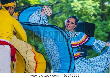 GUADALAJARA MEXICO - AUG 28 : Dancers Participate at the 23rd International Mariachi & Charros festival in Guadalajara Mexico on August 28 2016.